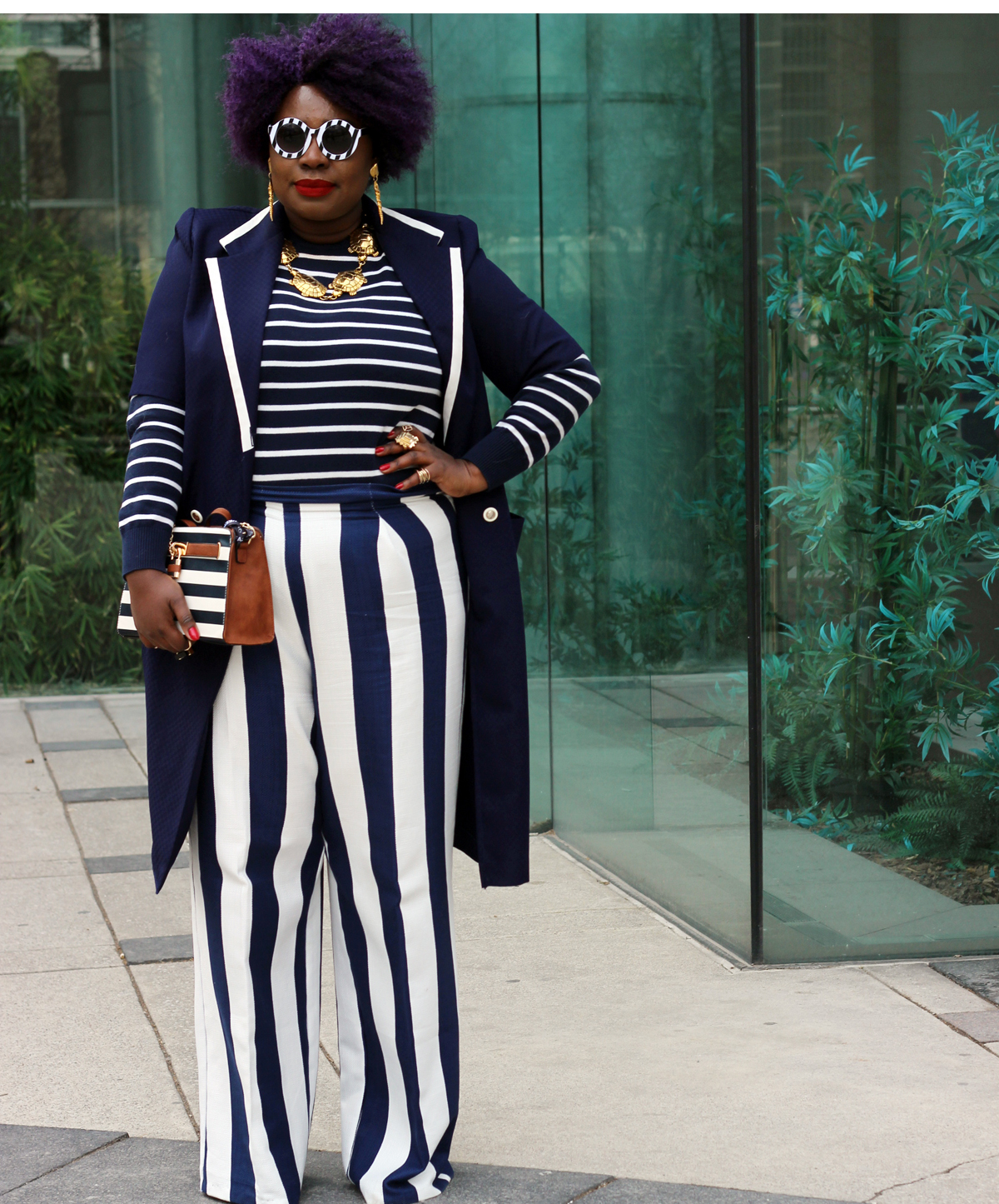 plus size style fashion week outfit stripes plus size stripes plus size street style 02