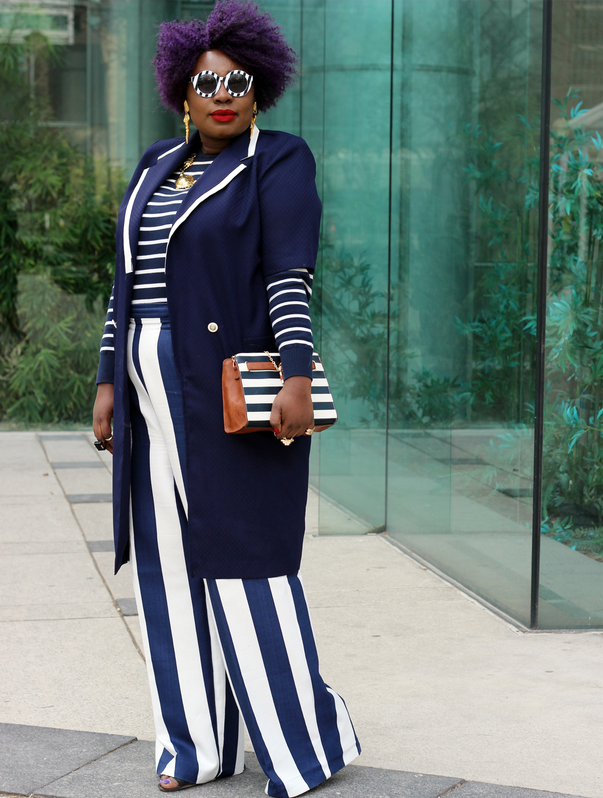 plus size style fashion week outfit stripes plus size stripes plus size street style 04