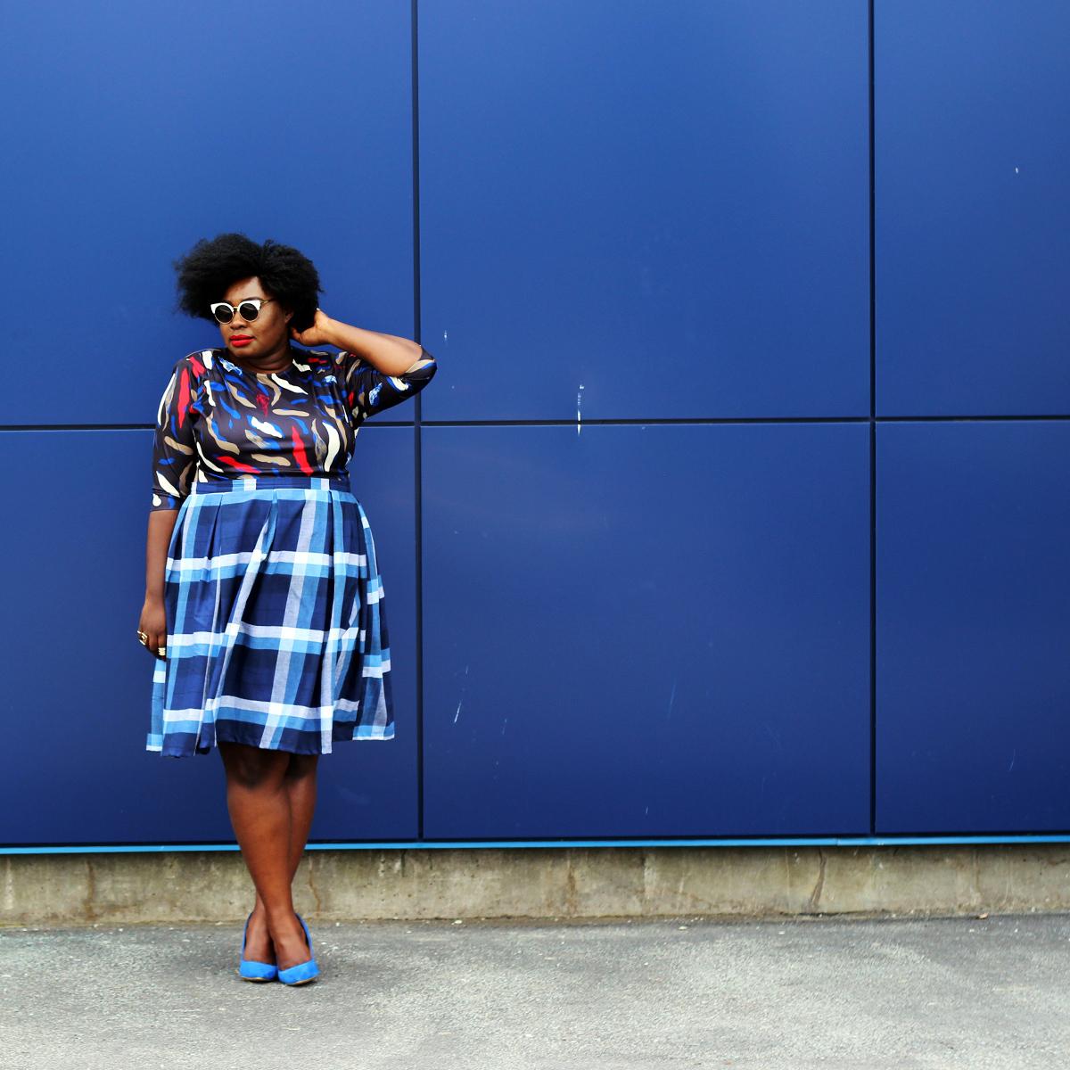 plus size canadian blog plus style check print skirt 05