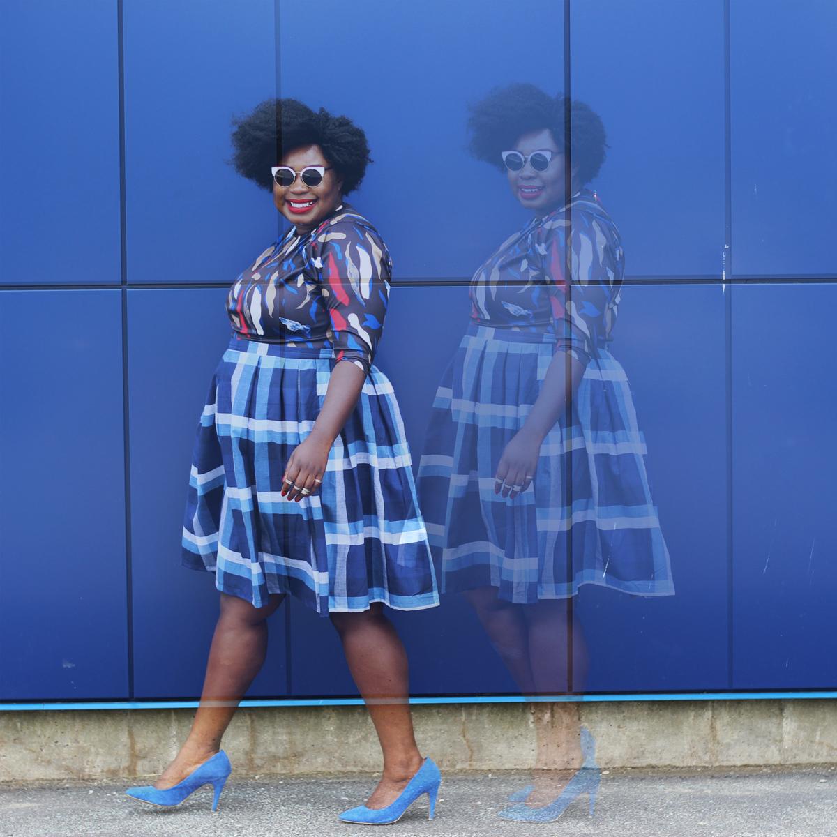 plus size canadian blog plus style check print skirt 08