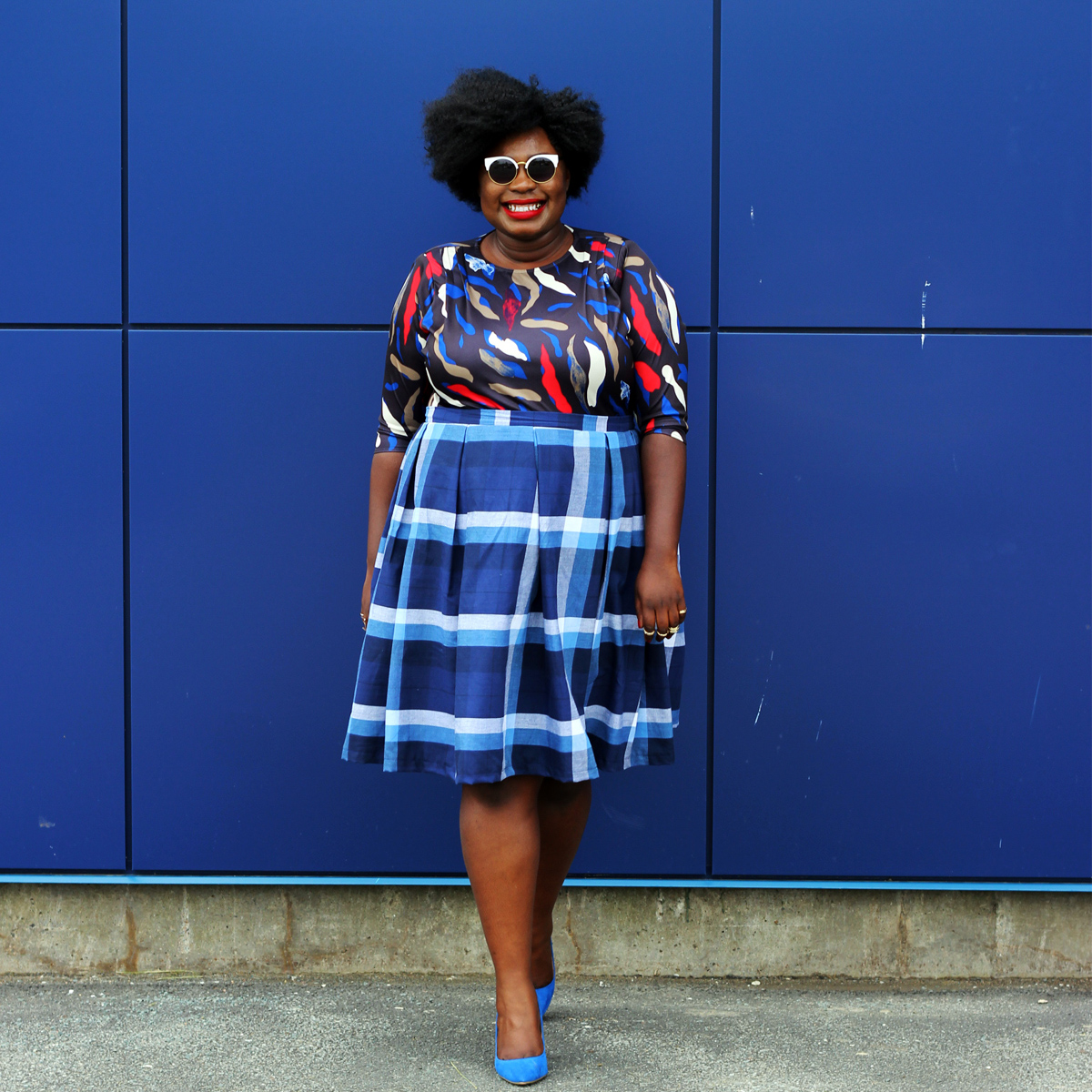 plus size canadian blog plus style check print skirt 09