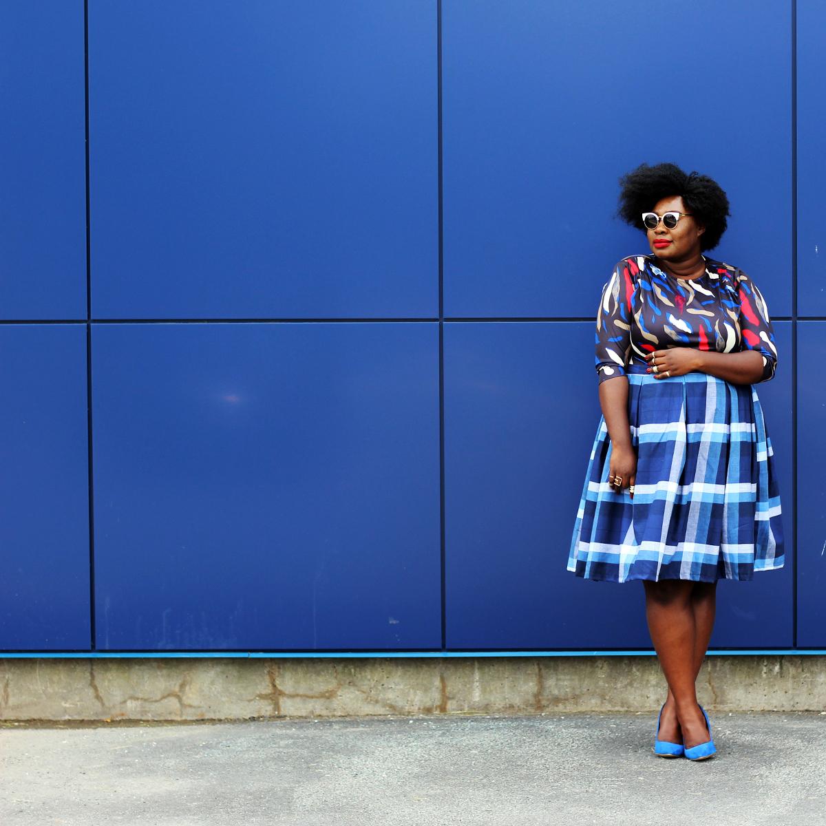 plus size canadian blog plus style check print skirt 11