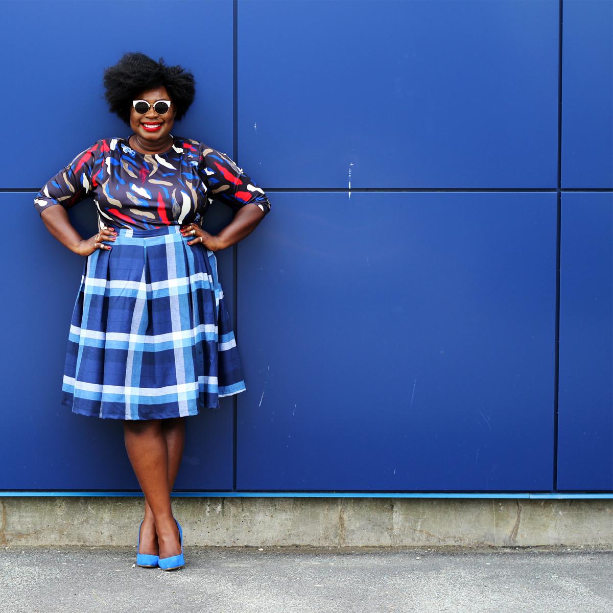 plus size canadian blog plus style check print skirt 14