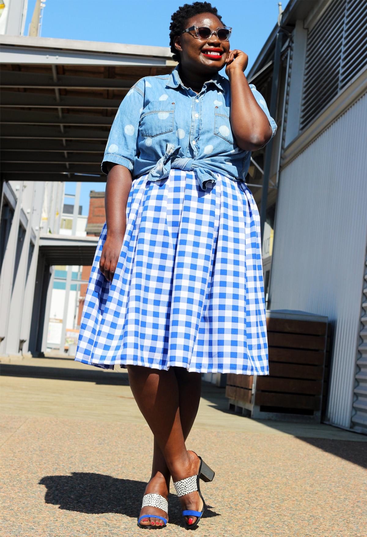 plus size canadian blog plus style print skirt gingham 01