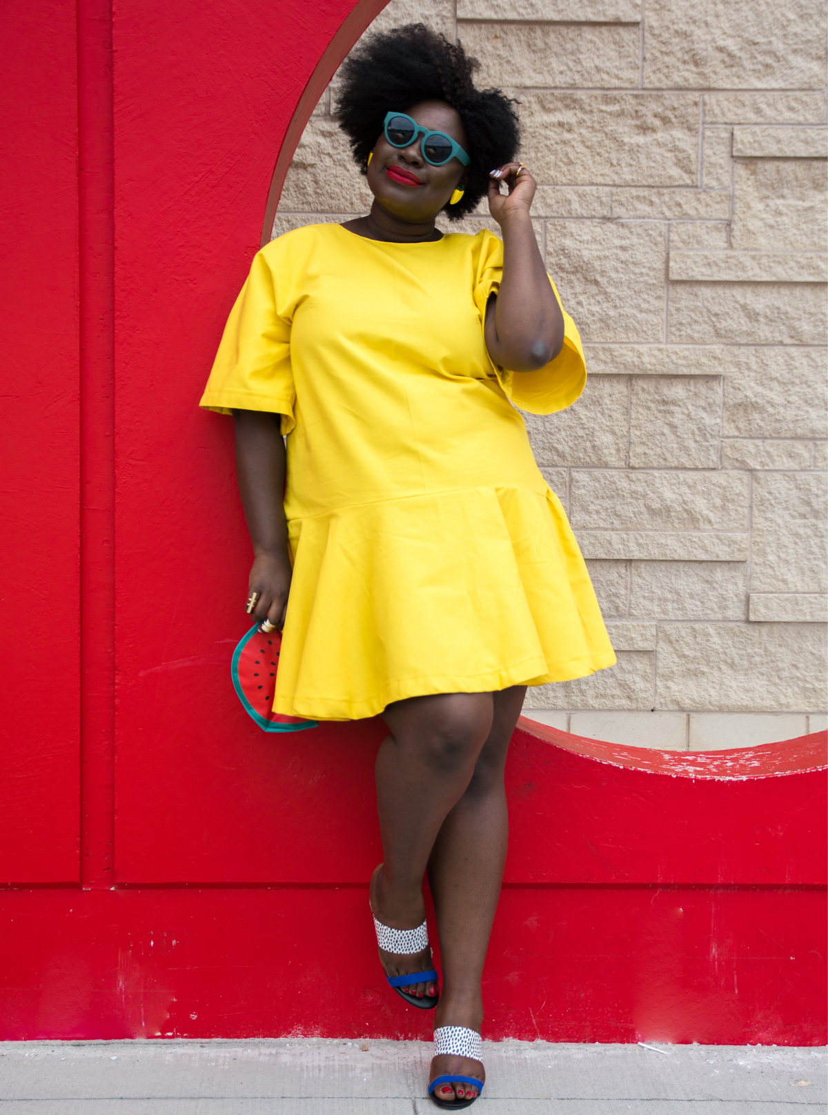 bush magazine mo handahu plus size full skirt plus size canadian blogger plus size summer style plus size mixing prints solange yellow dress 05
