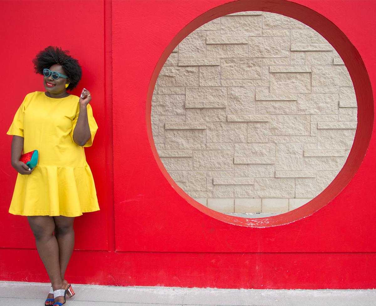 bush magazine mo handahu plus size full skirt plus size canadian blogger plus size summer style plus size mixing prints solange yellow dress 10