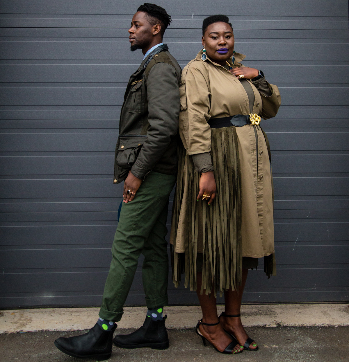 style twins olive green army green stylish duos stylish couples how to wear olive how to wear army green 08