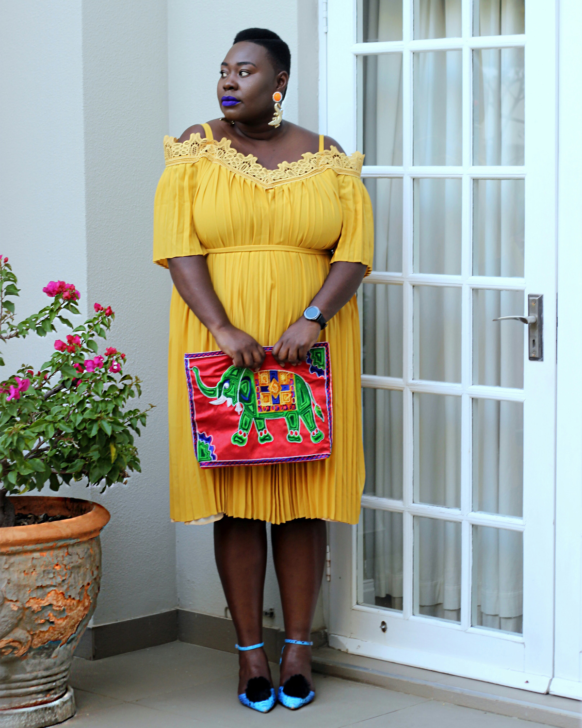 south africa fashion week outfit, plus size yellow dress, eloquii yellow dress, plus size fashion week streetstyle 03