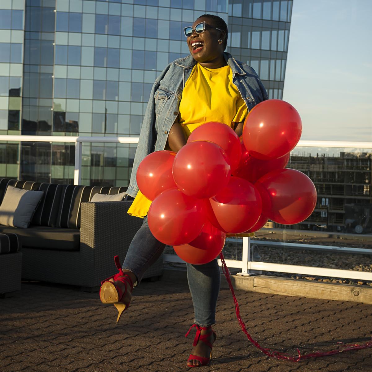 celebrating life, yellow dress, red shoes, balloon shoot carol mcallister 02