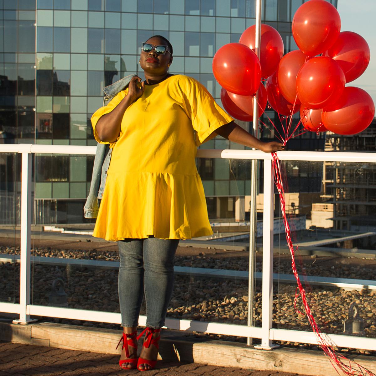 celebrating life, yellow dress, red shoes, balloon shoot carol mcallister 04