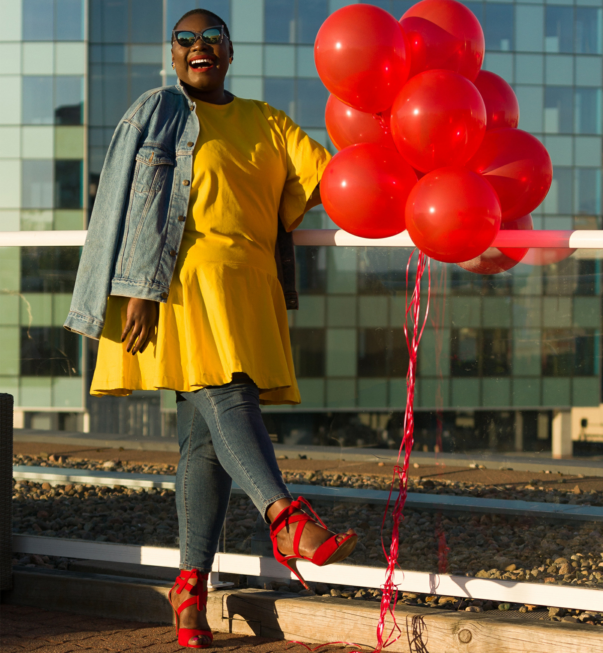 celebrating life, yellow dress, red shoes, balloon shoot pete steeper 03